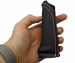Handle E Brake Boot Cover Real Leather For Bmw E60 2004 2010 Black Pink Stitch