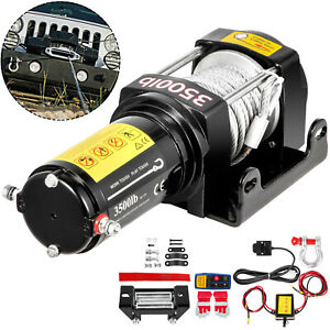 3500lb Electric Winch 12v Trailer Steel Cable Off Road For Boat Truck Pickup Suv