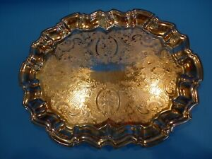 Vintage Leonard Silver Plated Etched Footed Serving Tray