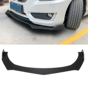 3pcs Carbon Fiber Look Front Bumper Lip Splitter Spoiler Universal Adjustable