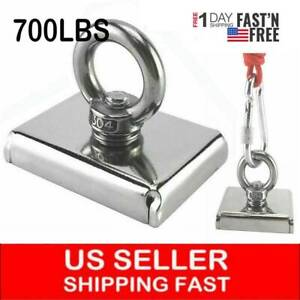 Upto 700 Lbs Fishing Magnet Kit Pull Force Strong Neodymium Or Rope Carabiner