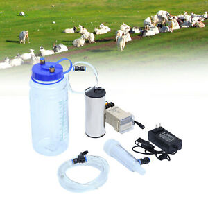 2l Portable Electric Milking Machine Vacuum Pump For Farm Sheep Goat Tool 12v