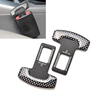 2x Car Safety Seat Belt Buckle Alarm Stopper Clip Clamp Carbon Fiber Universal