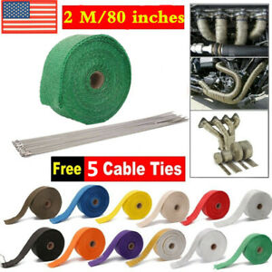 2m Black Exhaust Pipe Header Heat Wrap Resistant Downpipe Stainless 5 Steel Tie