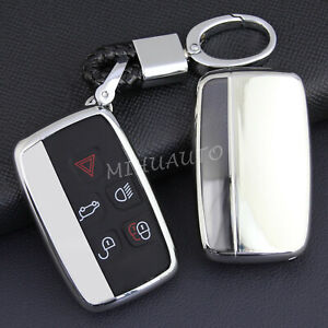For Land Rover Jaguar Car Key Fob Chain Ring Cover Case Silver Accessories
