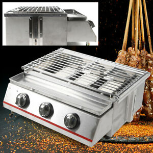 3 Burners Commercial Gas Lpg Grill Outdoor Bbq Tabletop Cooker Smokeless 45 25cm