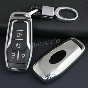 Smart Key Fob Chain Case Cover For Ford Fusion Mondeo Explorer Lincoln Silver