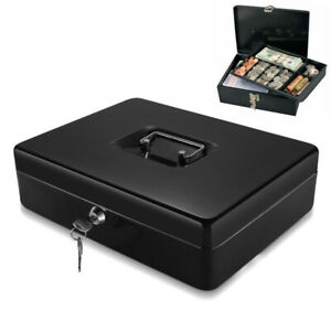Cash Box With Money Tray 2 Keys Security Lock Box W Removable 9 Compartment