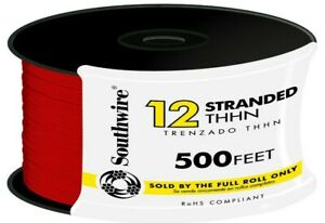 Stranded Cu Thhn Wire 12 Gauge Electrical Residential Cable Wiring 500 Ft Red