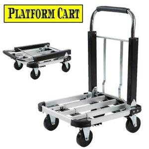New 330lbs Platform Cart Dolly Folding Moving Luggage Cart Hand Truck Trolley Iv