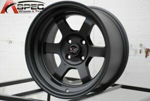16x8 Flat Black Wheels Rota Grid V 4x100 0 set Of 4