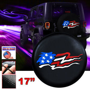 Black Leather Spare Tire Cover American Flag Size Xl For Jeep Wrangler Wheel 17