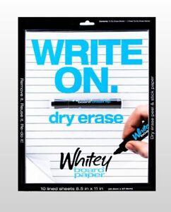 Whitey Board 10 Lined Dry Erase Sheets W chisel Tip Dry Erase Marker 8 5 X 11