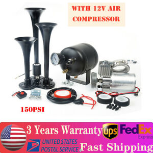 Compact 3 Trumpet Air Horn Truck Train Horns Kit 12 Volt Compressor 135db 150psi