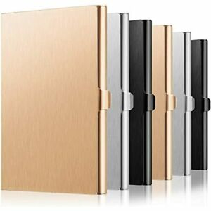 6 Pieces Aluminum Business Card Holder Case Name Credit For Men And Women Gold
