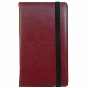 Pu Leather Business Card Book Organizer Journal Name Holder With Elastic Closure