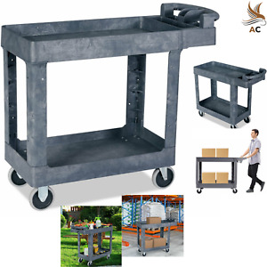 Utility Cart Rolling Plastic Service Trolley 550 Lbs Load 2 Shelves Push Handle