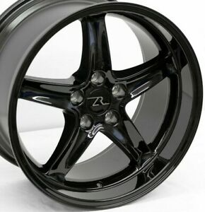 18 Full Black Mustang Cobra R Replica Wheels Deep Dish 18x9 18x10 5x114 3 94 04