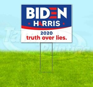 Biden Harris Truth Over Lies 2020 18x24 Yard Sign With Stake Corrugated Bandit