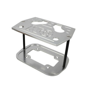 Silver Aluminum Billet Milled Hold Down Battery Bracket Tray Fit For Optima