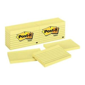 Post it Notes Lined 100 Sh pad 3 x5 12 pk Yellow