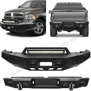 Front rear Bumpers W led Lights D rings Winch Plate For 2010 2018 Dodge Ram 2500