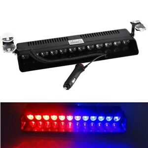 Car 12 Led Emergency Strobe Flash Light Bar Police Warning Lamp Red Blue