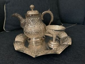 Silver Plated 3 Piece Tea Set Serving Tray Unused Hand Crafted In Indonesia