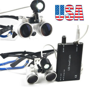 Us Dental Surgical Medical Binocular Loupes 2 5x420mm Head Light Lamp Magnifier