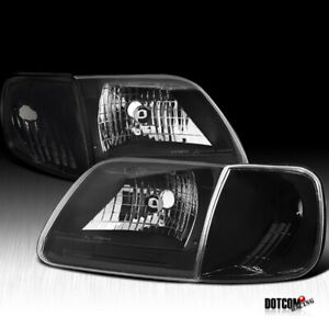 For 1997 2003 Ford F150 1997 2002 Expedition Black Head Lights Corner Lamps 4pc