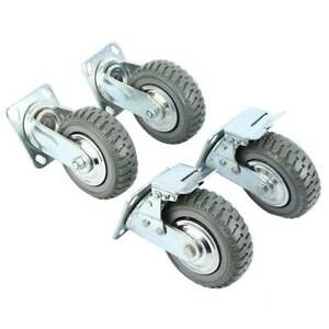 4pcs 6 Heavy Duty Industrial Polyurethane Rubber Caster Safety Brake Wheels