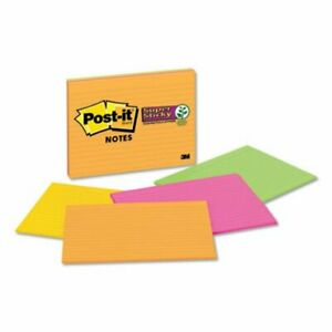Post it Super Sticky Large Format Notes Lined 4 Color 4 Pads mmm6845sspl