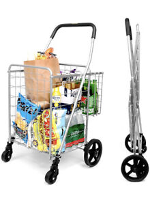 Supenice Folding Shopping Cart With Dual Swivel Wheels And Double Basket Nib