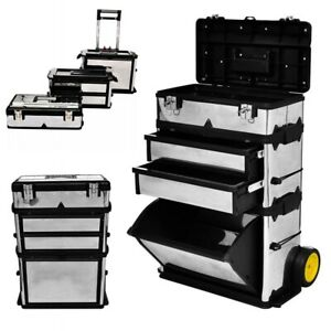 3 part Rolling Tool Box With 2 Wheels Storage Cabinet Tool Utility Storage Boxes