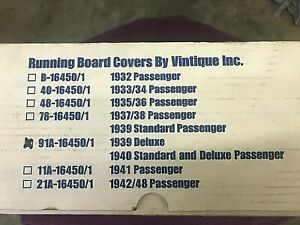 Ford 1939 Deluxe 1940 Standard And Deluxe Running Board Covers With Glue