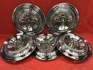 Vintage Set Of 5 1959 Buick 15 Deluxe Hubcaps Electra Lesabre Good Condition