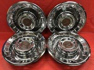 Vintage Set Of 4 1956 Cadillac 15 Hubcaps Deville El Dorado Good Condition
