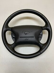 94 04 Ford Mustang Steering Wheel W Cruise Charcoal Oem Gray Leather Nice