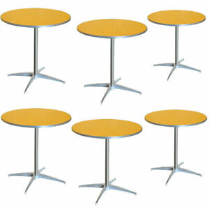 Restaurant Wood Bistro Table 6 Pack 36 Round Cocktail Table 2 Adjustable Height