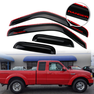Fits 99 11 Ford Ranger In Channel Window Visor Rain Shade Guard W Red Ranger