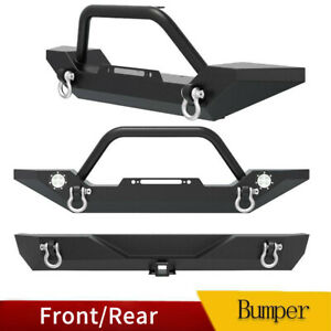 Powder Coated Front Rear Bumper W D Rings For 1987 2006 Jeep Wrangler Tj Yj