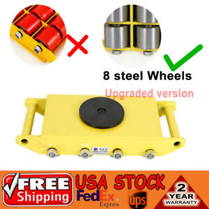 26400lbs 12ton Dolly Skate Machine Machinery Mover 8 Cast Steel Wheel Roller