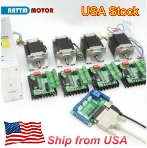 us 4 Axis Cnc Kit Nema23 Stepper Motor Dual Shaft 270o in 76mm 3a md430 Driver