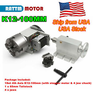 us cnc Router Rotation 4th axis 100mm 4 Jaw Chuck Rotary Table 65mm Tailstock