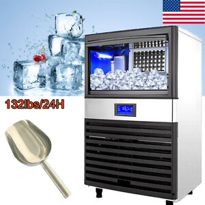 Commercial Grade Ice Maker 132lbs 24h Automatic Clear Cube Ice Making Machine Us