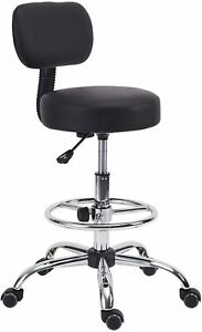 Klasika Drafting Rolling Stool Chair With Back Support And Adjustable Foot Ring