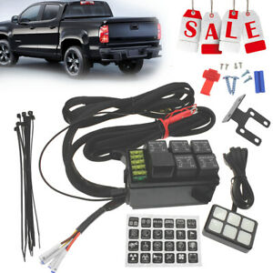 Universal 12v 6 Gang Switch Panel Relay Control Box With Wiring Harness For Car