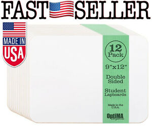 12 pack Optima 9x12 Double Sided Student Dry Erase Lap Boards New Fast