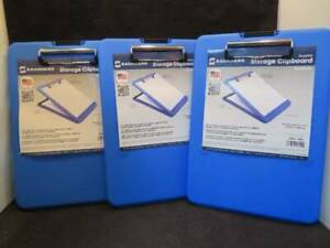 3 Saunders Blue Plastic Storage Clipboard Slim Mate 8 5 X 12 New
