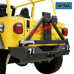Eag Rock Crawler Rear Bumper With Tire Carrier Fit 87 06 Jeep Wrangler Tj Yj